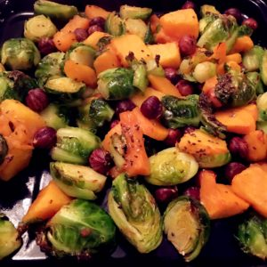 Maple Glazed Brussel Sprout Butternut Squash (Vegan, Gluten free)