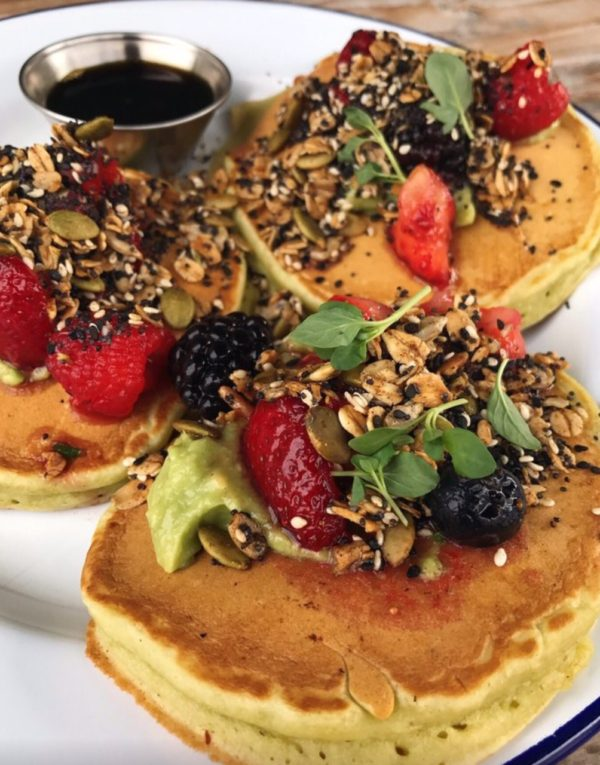 Spinach Pancake with Granola And Berries